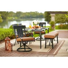 Hampton Bay Niles Park 5 Piece Sling Patio Dining Set S5