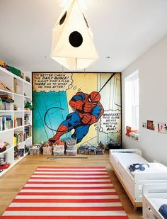 Love the red/white stripe rug and the yellow/blue in spidey cartoon