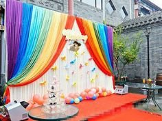Ice Silk cloth for party backdrop wall baby kids shower birthday Backdrop Curtain Rainbow Wedding string Backdrop Curtain Rainbow Decorations, Stage Decorations, Birthday Decorations, Rainbow Birthday Party, Rainbow Theme, Birthday Parties, Themed Parties, Cool Curtains, Beautiful Curtains