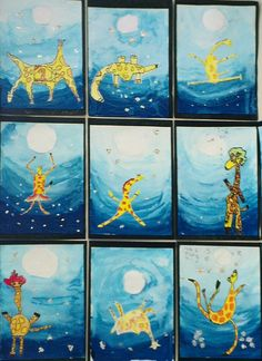 Inspired by the book, 'Giraffes can't Dance'  Liquid watercolor? Cutting out a white circle for the moon?