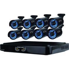 (Black) Owl 8 Channel Smart HD Video Security System with 1 TB HDD and