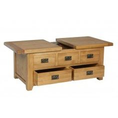 Rustic Oak Storage Coffee Table