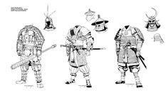 """Armor designs for Reality Blurs """"Iron Dynasty"""" RPG setting. Unlike the weapons, I was allowed a lot more freedom to make up these armor designs, though I still needed to base them on historical pre..."""