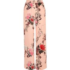 River Island Pink floral print wide leg pants ($76) ❤ liked on Polyvore featuring pants, pink, wide leg pants, women, wide leg trousers, pink high waisted pants, high-waisted trousers and pink pants