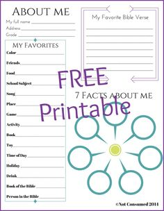 All About Me Free Printable. It's faith based and full of great questions to document for your year. Perfect for homeschool or Christian school teachers!