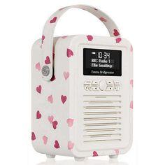 BuyVQ Retro Mini DAB/FM Bluetooth Digital Radio, Exclusive Emma Bridgewater Pattern, Pink Hearts Online at johnlewis.com