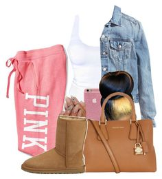 A fashion look from October 2016 featuring shirt top, jean jacket and red sweatpants. Browse and shop related looks. Swag Outfits For Girls, Lazy Day Outfits, Cute Swag Outfits, Cute Comfy Outfits, Chill Outfits, Teenager Outfits, Dope Outfits, Stylish Outfits, Summer Outfits
