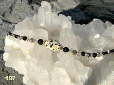 Dalmation Jasper with black onyx hematite crystals by Krystalins, $32.00