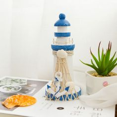 15x7cm-Mediterranean-Style-Wooden-Lighthouse-Maritime-Ornament-Home-Nautical