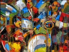 Abstract Jazz art painting music paintings by Debra Hurd, painting by artist Debra Hurd