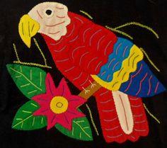 Kuna Indian Macaw Parrot Mola Molita-Panama 15102402L