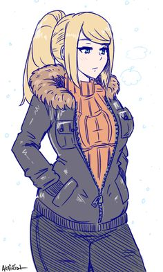 """akairiot: """" Samus is ready for winter. support the artist - buy merch - ask questions - stream - twitter """""""