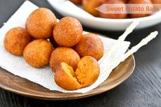 Only a few simple ingredients used in these gluten free Sweet Potato Balls deep fried to golden perfection. They make a tasty tea time or snack time treat. Sweet Potato Balls Recipe, Sweet Potato Dishes, No Dairy Recipes, Paleo Recipes, Free Recipes, Asian Desserts, Asian Appetizers, Tea Snacks, Cake