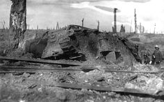 "British MkIV ""Bear"" tank, abandoned after battle near Inverness Copse, on August 22 , 1917"