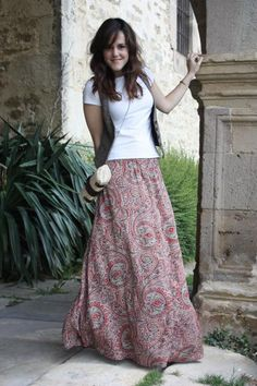 T-shirt and a patterned maxi skirt...looks so cute/comfy for summer