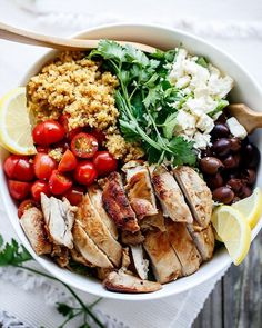BALSAMIC CHICKEN SALAD WITH LEMON QUINOA By @cafedelites. Crisp and juicy pan fried chicken in balsamic garlic and olive oil mixed into an incredible loaded salad with Kalamata olives Feta Lemon flavoured Quinoa and sweet grape tomatoes. Serves: 6 INGREDIENTS Lemon Quinoa: cup dry quinoa 1 cup vegetable or chicken stock (or water mixed with 1 teaspoon vegetable stock powder) Pinch of salt to season Juice of a lemon Chicken: 6 boneless chicken thigh or breast fillets trimmed of fat 1 tab...