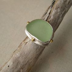 Lisa Hall Jewelry: Pale Green Natural Seaglass Compass Ring #MarthaStewartAmericanMade