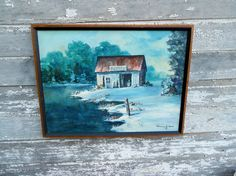 Vintage Oil Painting Old Boat House Rural winter by Holliezhobbiez, $45.00