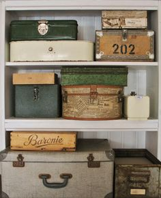 Cute way to openly display storage items like photos, etc.
