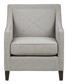 Luca Transitional Abington Ash Accent Chair w/Silver Nailheads