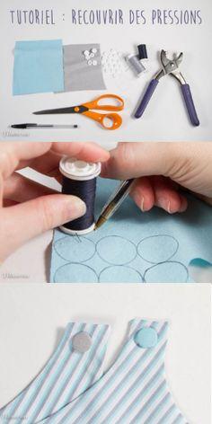 Vous aimez ajouter des boutons pression ou boutons KAM à vos projets de couture à l'aide d'une pince KAM par exemple ? Vous aimeriez ajouter une petite touche créative et personnelle à ces boutons ? Pourquoi ne pas les recouvrir de tissus ? Voici un DIY couture très simple et très pratique. Merci au blog Filomenn pour le tuto ! Couture Main, Couture Bb, Coin Couture, Sewing Lessons, Sewing Hacks, Sewing Projects, Couture Sewing Techniques, Costumes Couture, Sewing School