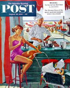 Saturday Evening Post Copyright 1954 Babysitter At Beach - Mad Men Art: The 1891-1970 Vintage Advertisement Art Collection