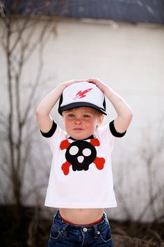 Boy's Applique Skull Shirt by magicalscraps on Etsy