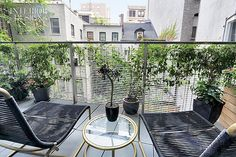 Setting the Stage: Dufner Heighes Designs Dynamic Model Apartment For Luxury NoHo Building | Chaise longues and a table by Robert Brown and Hubert Jordan outfit the balcony. #design #interiordesign #interiordesignmagazine #architecture #outdoor #balcony #apartment