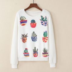 Womens Potted Cactuses Print Velvet Long Sleeve Sweatshirt Jumper Pullover Tops