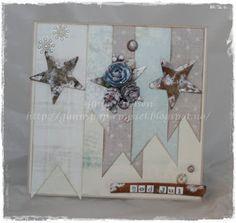 Christmas card, julekort, scrapbooking, scrapbook, paper, papir, wood, star, vintage