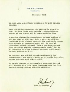 Christmas 1962 letter from the Kennedys to members of the U.S. military.