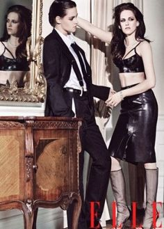 Kristen Stewart and Tom Munro joined forces and created an unusual photoshoot for June 2012 issue of Elle US. While the photos show Kristen Stewart in all her Elle Magazine, Magazine Photos, Fashion Shoot, Editorial Fashion, Skirt Fashion, Fashion Outfits, Daniel Golz, Kristen Stewart Pictures, Estilo Tomboy