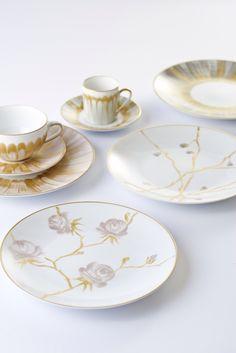 Marie Daage, collection Bouquets et Panache. Porcelaine peinte à la main