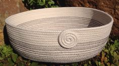 Coiled clothesline rope bowl, wide & shallow, by Andrea