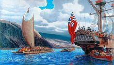 King Kalaniopu'u Welcoming Cook To Kealakekua Bay by Herb Kane