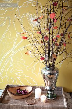 """Make a """"Thankful Tree"""" - download pdf to print the leaves, have family/guests write what they are thankful for on the back, and place them on the branches."""