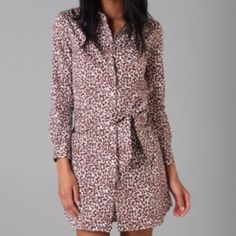 """Diane Von Furstenberg Laney Dress Print cotton shirtdress (very comfy) features a fold-over collar and an 11-snap closure. Self-belt waist tie. Patch bust pocket and on-seam hip pockets. Long sleeves. Perfect condition.  35"""" long, measured from shoulder to hem. Diane von Furstenberg Dresses Long Sleeve"""