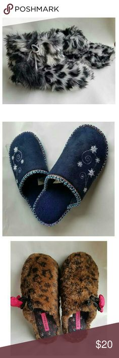 3 House Slippers Bundle of 3 Cute Slippers -Color -Leopard  Gray ,Dark blue, Leopard Brown -Size (2)-Small -(1)Medium -Materials- 100% Faux fur upper textile outsole -Condition- Its all in Great Condition -Brand- Aero- Betsey Johnson Shoes Slippers