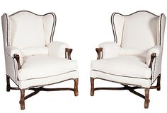 Low Wingback Chairs, Pair on OneKingsLane.com