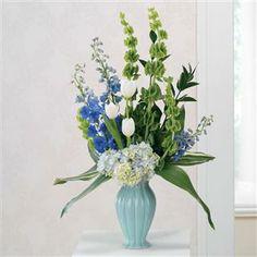 Blue Hydrangea and Tulips Pedestal Arrangement