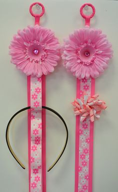 Funky Flower Matching Headband Holder & Hair Bow Holder Set