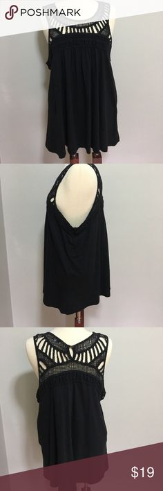 """Cute long black tunic with crocheted top NWT Sonoma XL black tunic top.  Black crocheted bodice in front and back.  Straps are also crocheted.   Length is 27"""".   See pics for material and washing instructions.  Smoke free home Sonoma Tops Tunics"""