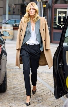 Beige Coat, Grey Blazer, White Button Shirt, loose tuxedo trousers, pointy heels, anchor brooch