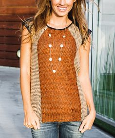 Another great find on #zulily! Mocha & Rust Faux Leather-Accent Knit Top #zulilyfinds