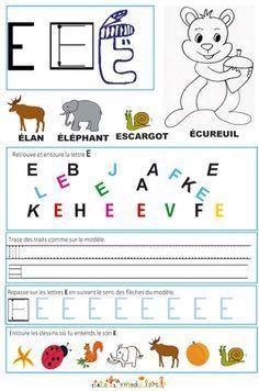 coloriage Page de lecture - écriture : la grande lettre E