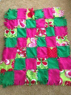 tie blankets | Girl Fleece Tie Quilt Blanket by AHill0472 on ... | DIY tie blankets