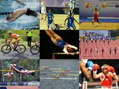 A photo collage for talking about Olympic sports in Spanish. Two activities - find the photo being described and match the name of the sport to the photo.