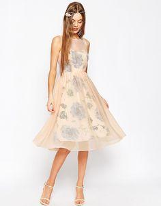 Image 1 ofASOS WEDDING Printed and Sheer Layer Prom Dress
