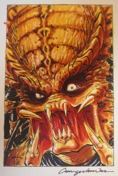 Chris Warner-Predator cover Comic Art