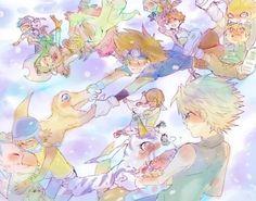 Digimon Adventure: Joe with Gomamon, Mimi with Palmon, Taichi (Tai) with Agumon, Koushiro (Izzy) with Tentomon, Takeru (T.K.) with Patamon, Hikari (Kari) with Tailmon (Gatomon), Sora with Biyomon and Yamato (Matt) with Gabumon